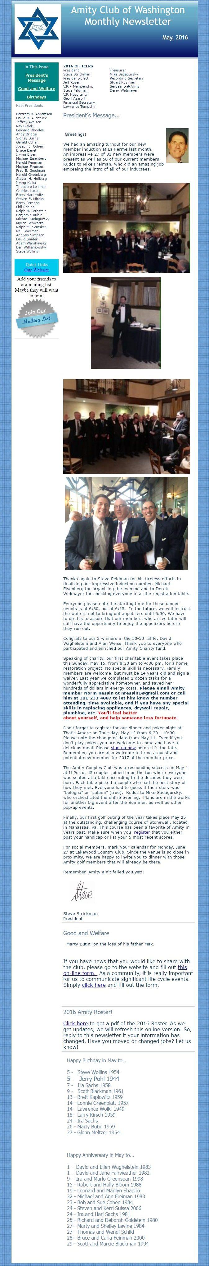 May 2016 Amity Club of Washington Newsletter