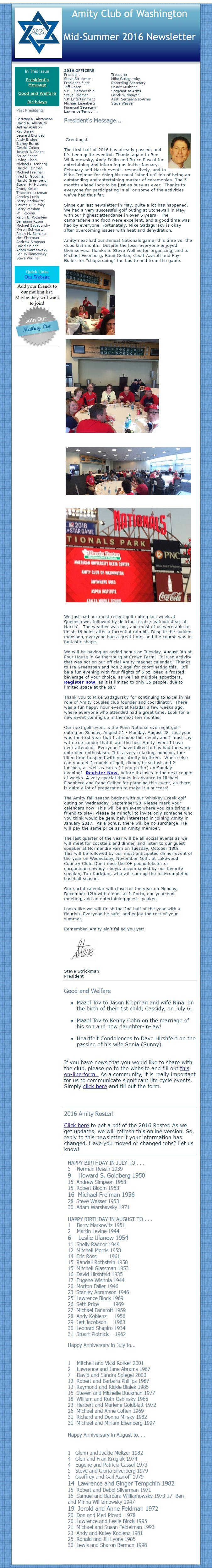 Mid-Summer Amity Club of Washington Newsletter